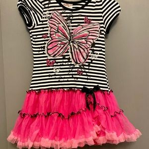 Beautees black, white, and pink dress size 6X